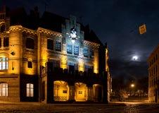 Oude stad bij nacht Royalty-vrije Stock Foto
