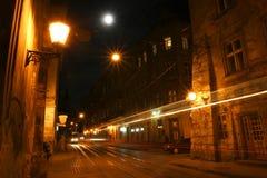 Oude stad bij nacht Stock Afbeelding