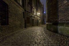 Oude stad bij nacht - Gdansk, Polen Stock Fotografie