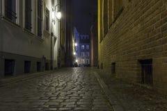 Oude stad bij nacht - Gdansk, Polen Stock Afbeelding