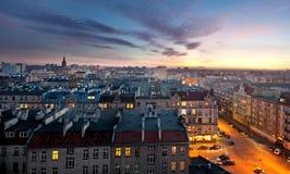 Oude stad bij zonsondergang Royalty-vrije Stock Foto's