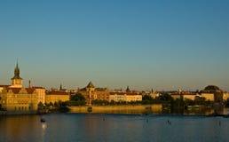 Oude Stad bij zonsondergang Stock Afbeeldingen