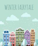 Oude Stad in de winter stock illustratie
