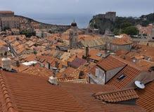 Oude stad Dubrovnik Kroatië, goed gehouden middeleeuwse steengebouwen stock foto