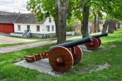 Oude Stad Gamlebyen Fredrikstad, Noorwegen kanon royalty-vrije stock afbeeldingen
