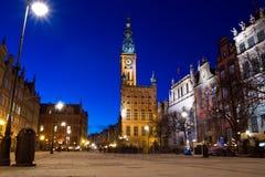Oude Stad in Gdansk bij nacht Royalty-vrije Stock Foto's