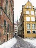 Oude stad Gdansk Danzig Polen, de winter Stock Afbeeldingen