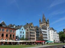 Oude stad, hemel, kleuren, reis, vakantie, Keulen Duitsland Stock Fotografie