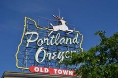 Oude Stad, het Teken van Portland, Oregon stock foto