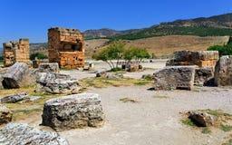Oude stad Hierapolis (Pamukkale) Turkije Royalty-vrije Stock Fotografie