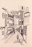Oude stad Istanboel royalty-vrije illustratie