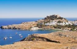 Oude stad Lindos, het eiland van Rhodos, Griekenland Stock Foto's