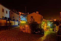 Oude stad, met Kerstmisdecoratie, Obidos Stock Afbeelding