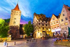 Oude Stad in Nuremberg, Duitsland stock afbeelding