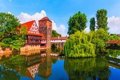 Oude Stad in Nuremberg, Duitsland Stock Foto's