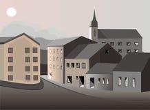 Oude stad onder de maanvector Royalty-vrije Stock Afbeelding