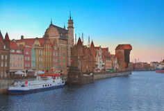 Oude stad over water, Gdansk Royalty-vrije Stock Afbeelding
