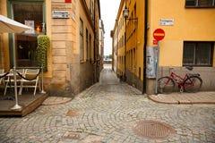 Oude stad in Stockholm stock afbeeldingen