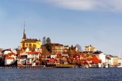 Oude stad van Arendal, Noorwegen Stock Foto's