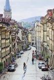 Oude stad van Bern bij dageraad, Zwitserland Stock Foto's