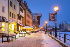 Oude stad van Gdansk bij Motlawa-rivier in de winter, Polen Royalty-vrije Stock Foto