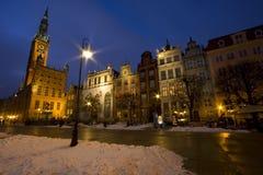 Oude stad van Gdansk bij nacht Stock Foto's
