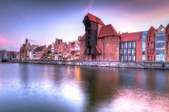Oude stad van Gdansk bij rivier Motlawa Stock Fotografie