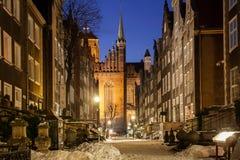 Oude stad van Gdansk in de winterlandschap Stock Fotografie