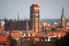 Oude stad van Gdansk met historische gebouwen Stock Afbeelding