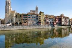 Oude stad van Girona Stock Foto's