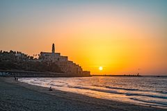 Oude stad van Jaffa op zonsondergang Stock Afbeelding