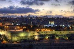 Oude Stad van Jeruzalem bij zonsondergang Stock Foto