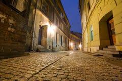 Oude stad van Lublin bij nacht Stock Afbeelding