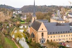 Oude stad van Luxemburg - Unesco-Werelderfenis De Stad van Luxemburg, Luxemburg - April 3 2016 Stock Foto's