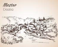 Oude stad van Mostar, Kroatië Kroatië schets royalty-vrije illustratie