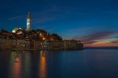 Oude stad van Rovinj bij zonsondergang, Istrian-Schiereiland, Kroatië Stock Fotografie