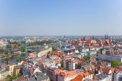 oude stad van Wroclaw van hierboven stock afbeelding
