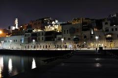 Oude stad van Yafo bij nacht Stock Afbeeldingen