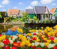 Oude stad van Zaandijk, Nederland Stock Foto's