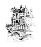 Oude stad, vectorillustratie Stock Afbeelding