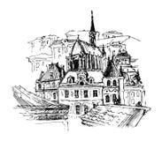 Oude stad, vectorillustratie Stock Fotografie