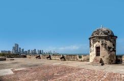 Oude Stadsmuren in Cartagena, Colombia Stock Foto