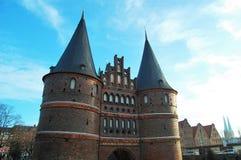 Oude stadspoort van Lübeck, Duitsland royalty-vrije stock foto's