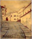 Oude stadsstraat royalty-vrije illustratie