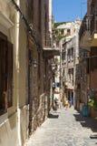 Oude stadsstraat Chania Stock Foto