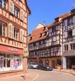 Oude stadsstraat in Colmar Stock Fotografie