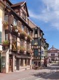 Oude stadsstraat in Colmar Royalty-vrije Stock Fotografie