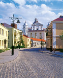 De straat van de stad in Lutsk, de Oekraïne Stock Foto