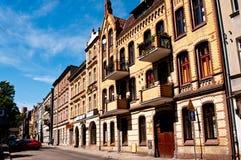 Oude stadsstraat van Grudziadz Polen Stock Afbeeldingen
