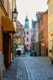 Oude stadsstraten poznan Stock Afbeeldingen